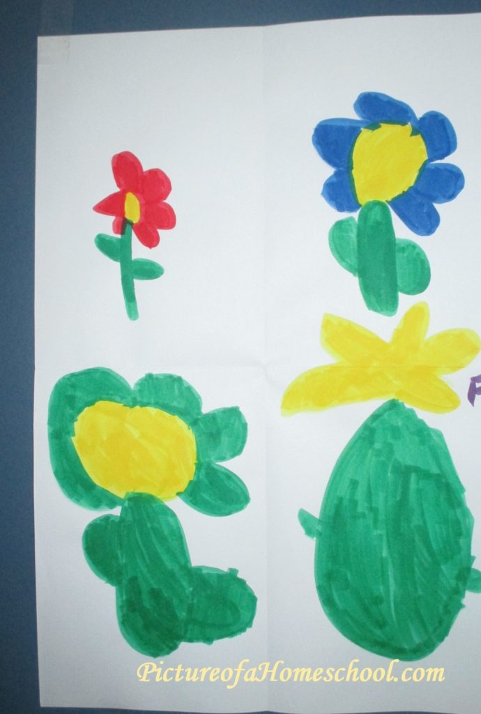 child's drawing of flowers